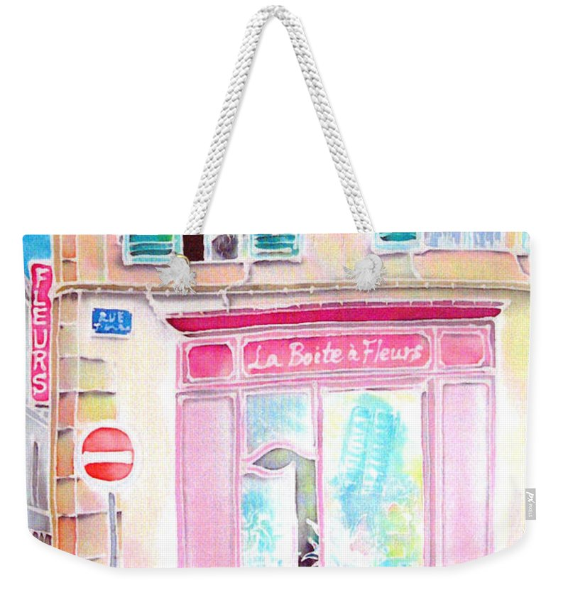 Flower Shop Weekender Tote Bag featuring the painting Fleuriste by Hisayo Ohta