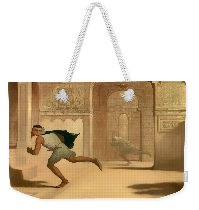 Painting Weekender Tote Bag featuring the painting Flight And Pursuit by Mountain Dreams