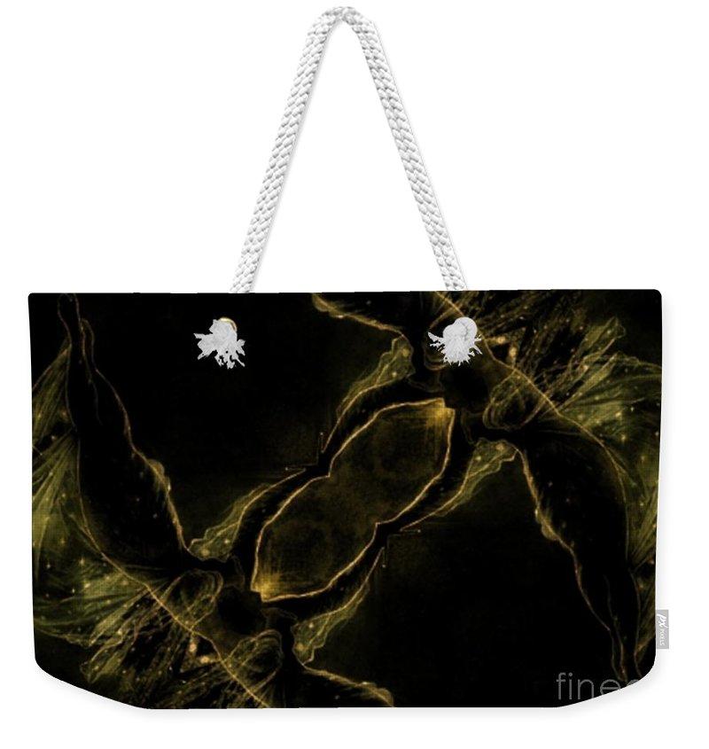 Green Weekender Tote Bag featuring the digital art Flight by Charleen Treasures