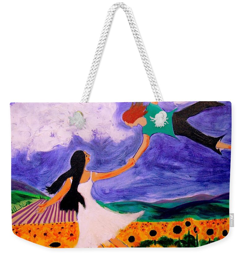 Symbolism Weekender Tote Bag featuring the painting Flight of Fancy by Rusty Gladdish