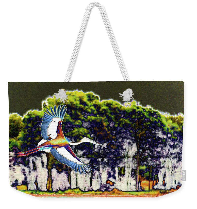 Black Necked Stork Weekender Tote Bag featuring the photograph Flight Of The Jabiru by Douglas Barnard