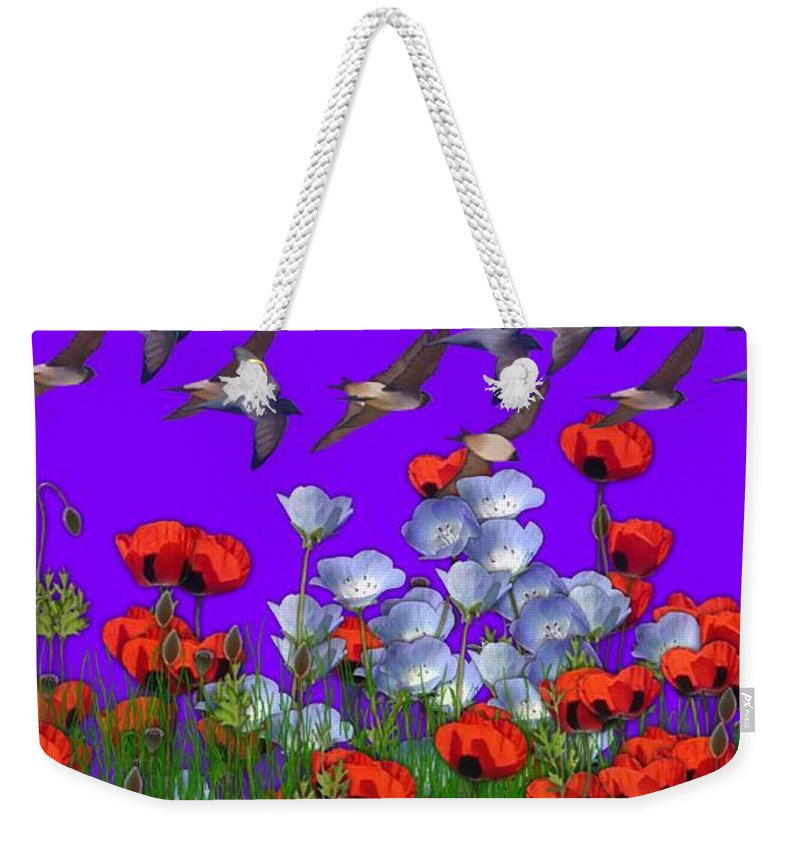Flowers Weekender Tote Bag featuring the photograph Flight Over Poppies by George Pedro