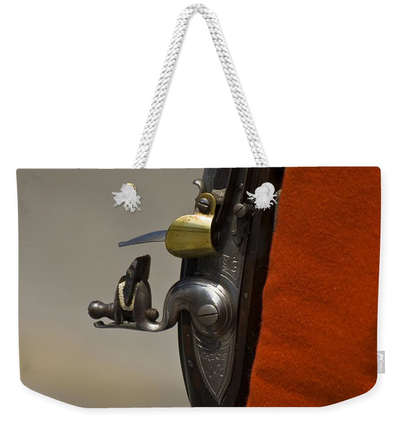 Abstract Weekender Tote Bag featuring the photograph Flintlock Musket by Brian Roscorla