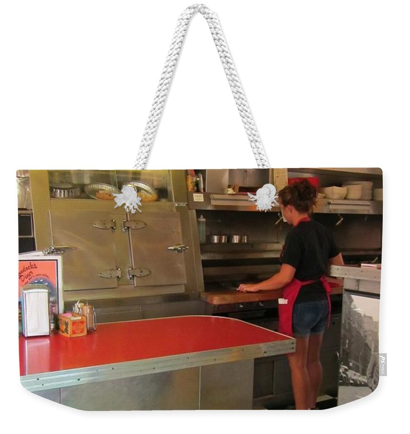 Diner Interior Photographs Weekender Tote Bag featuring the photograph Flippin Burgers In The Diner by John Malone