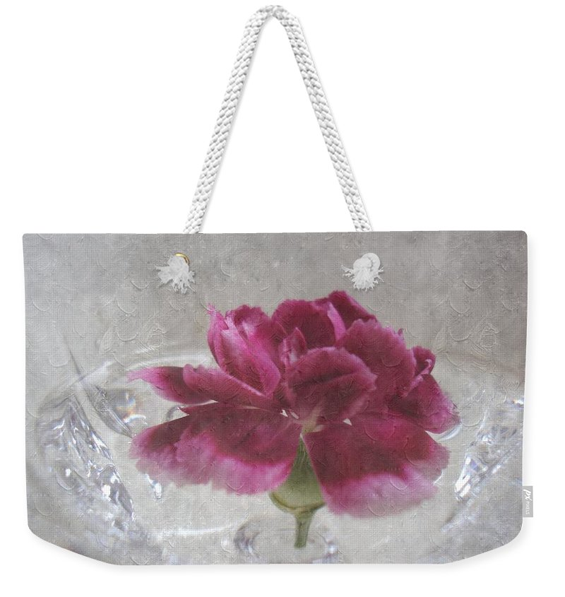 Mini Carnation Weekender Tote Bag featuring the photograph Floating Mini by Annie Adkins