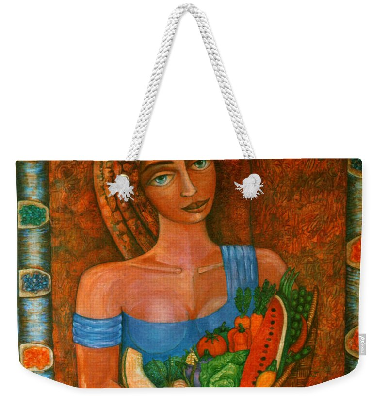 Acrylic Weekender Tote Bag featuring the painting Flora - Goddess Of The Seeds by Madalena Lobao-Tello