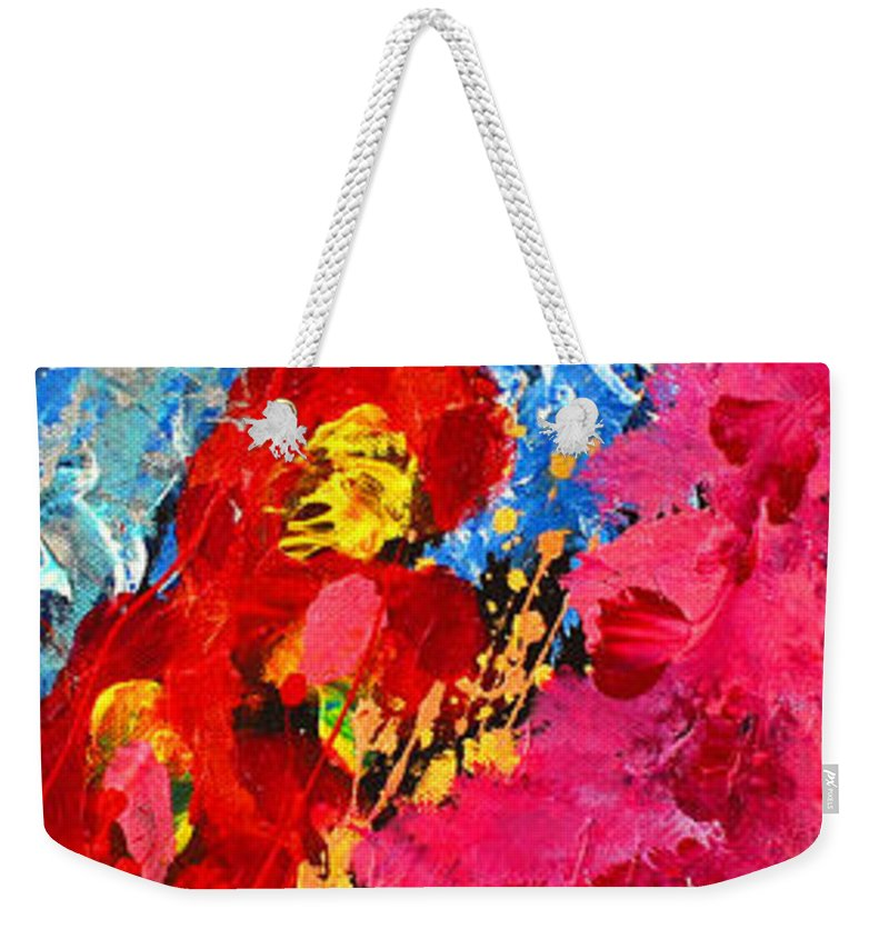 Abstract Weekender Tote Bag featuring the painting Floral Abstract Part 1 by Julia Apostolova