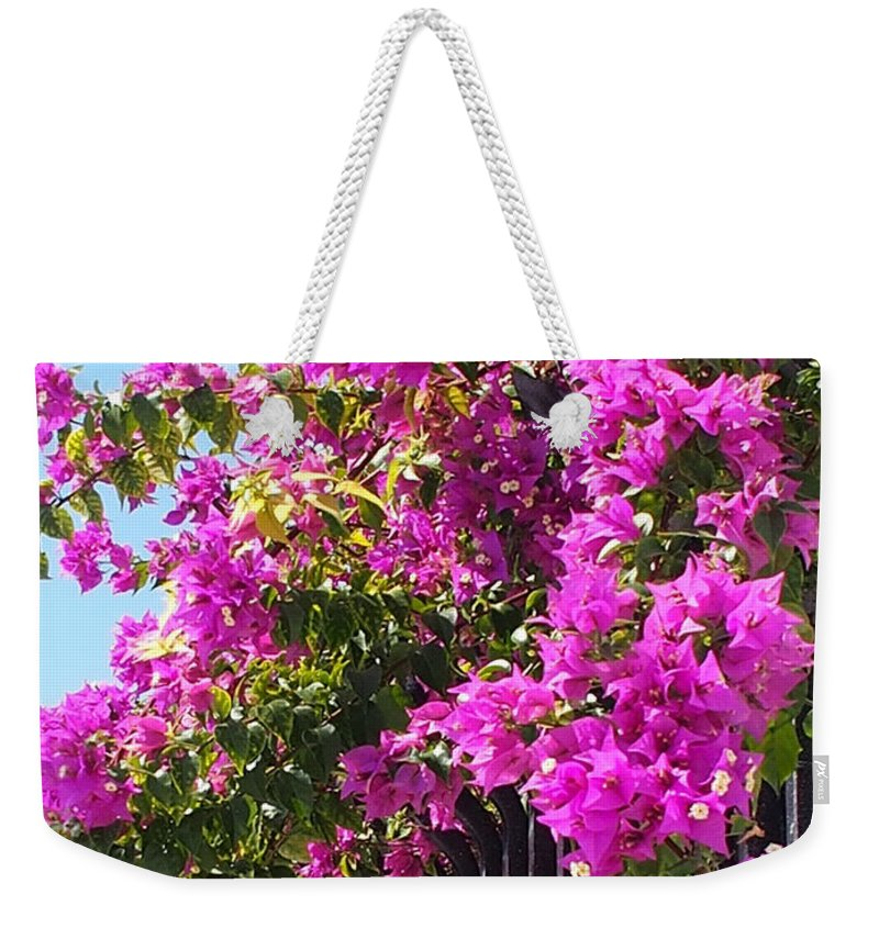 Karen Zuk Rosenblatt Art And Photography Weekender Tote Bag featuring the photograph Floral Cascade by Karen Zuk Rosenblatt