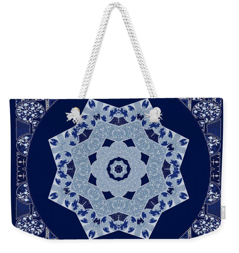 Mandala Weekender Tote Bag featuring the digital art Floral Flow Blues by Joy McKenzie