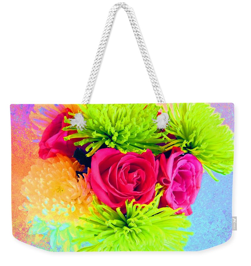 Computer Graphics Weekender Tote Bag featuring the photograph Floral Glow by Marian Bell