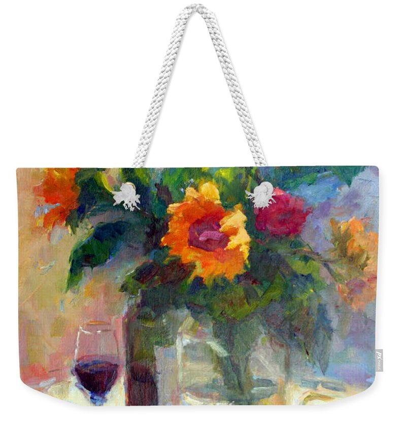 Floral Weekender Tote Bag featuring the photograph Floral Paintings Fp18 by Munir Alawi