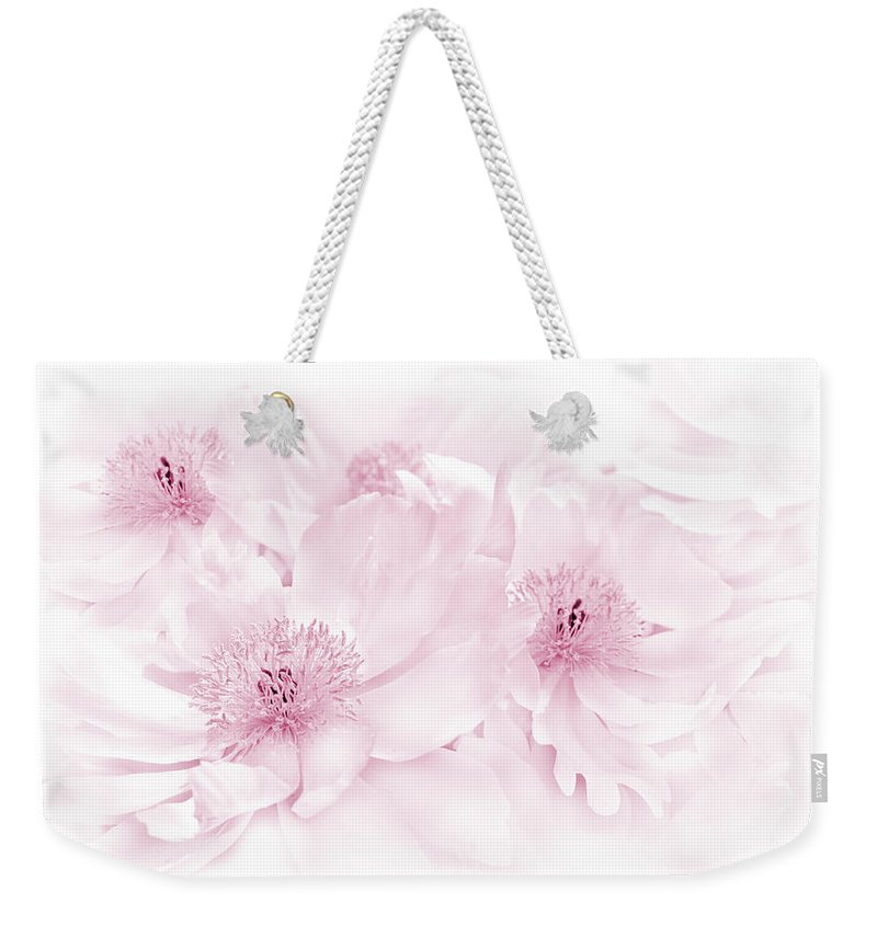 Peony Weekender Tote Bag featuring the photograph Floral Peonies In Pink by Jennie Marie Schell