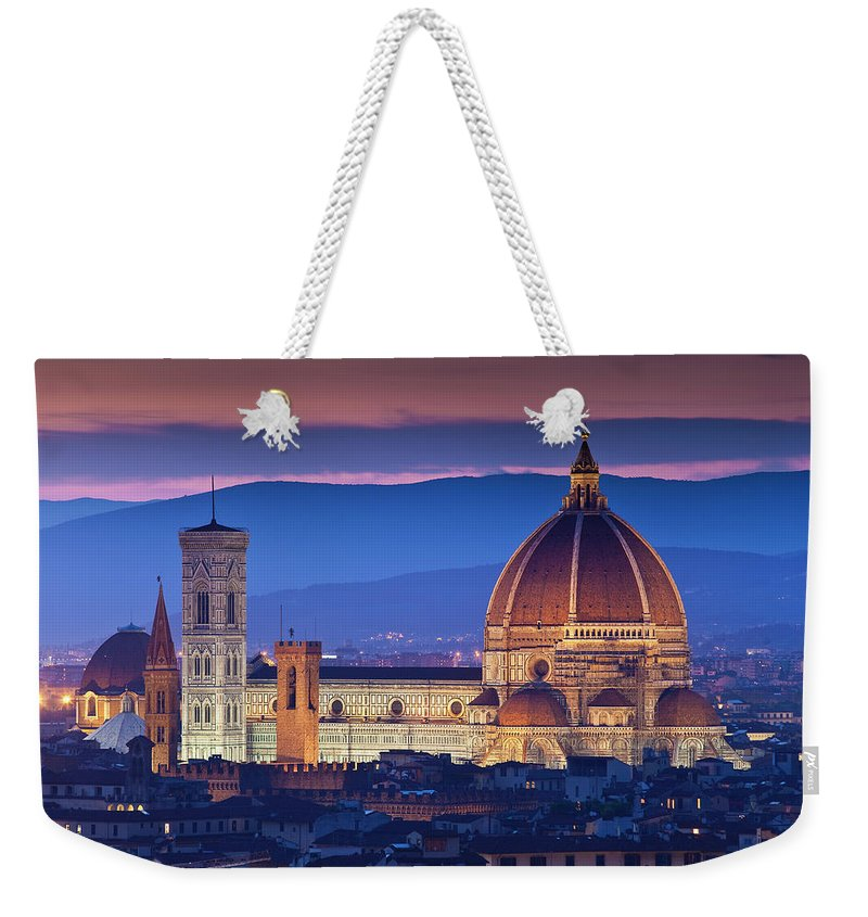 Built Structure Weekender Tote Bag featuring the photograph Florence Catherdral Duomo And City From by Richard I'anson