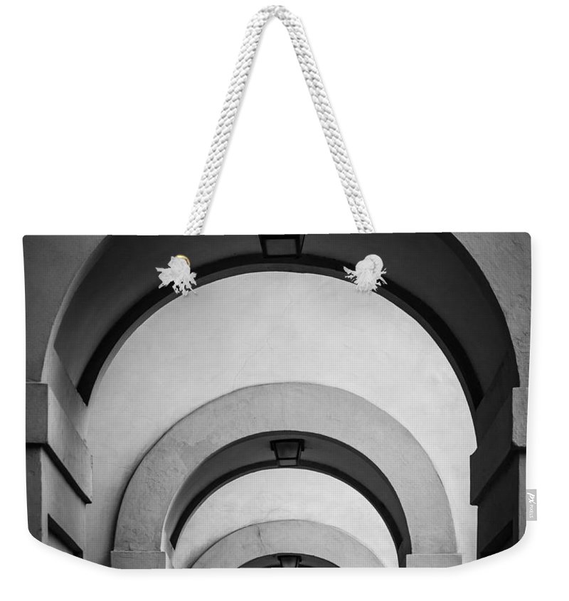 B&w Weekender Tote Bag featuring the photograph Florence Hallway by Inge Johnsson