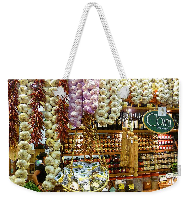 Market Weekender Tote Bag featuring the photograph Florence Market by Irina Sztukowski