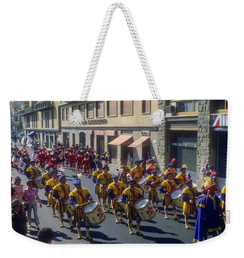 Parade Parades Person Persons People Florence Building Buildings City Street Streets Cities Cityscape Cityscapes Italian Band Bands Crowd Crowds Italy Weekender Tote Bag featuring the photograph Florence Parade by Bob Phillips