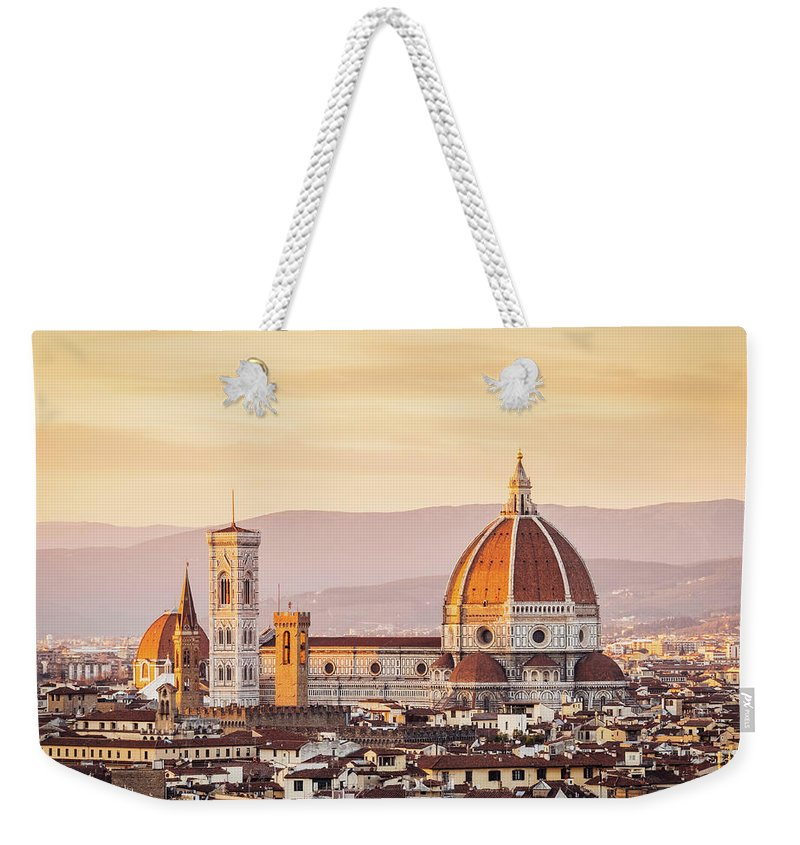 Campanile Weekender Tote Bag featuring the photograph Florences Cathedral And Skyline At by Filippobacci