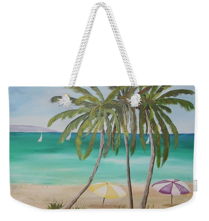 Umbrellas Weekender Tote Bag featuring the painting Florida Shade by Kathy Przepadlo