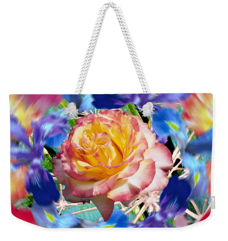 Flowers Weekender Tote Bag featuring the digital art Flower Dance 2 by Lisa Yount