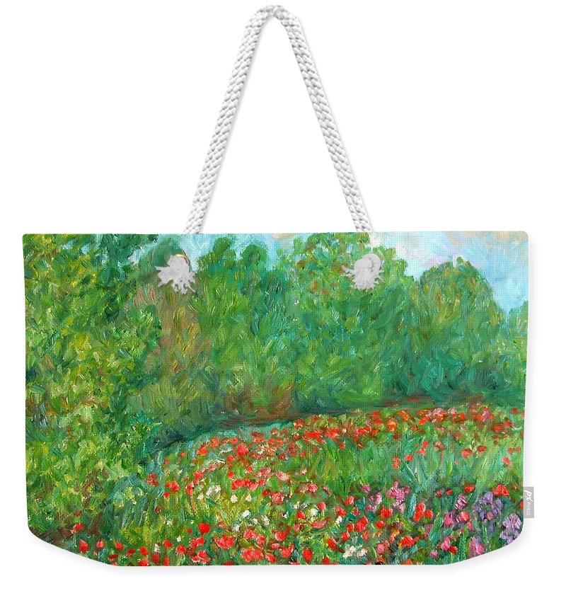 Blue Ridge Paintings Weekender Tote Bag featuring the painting Flower Field by Kendall Kessler