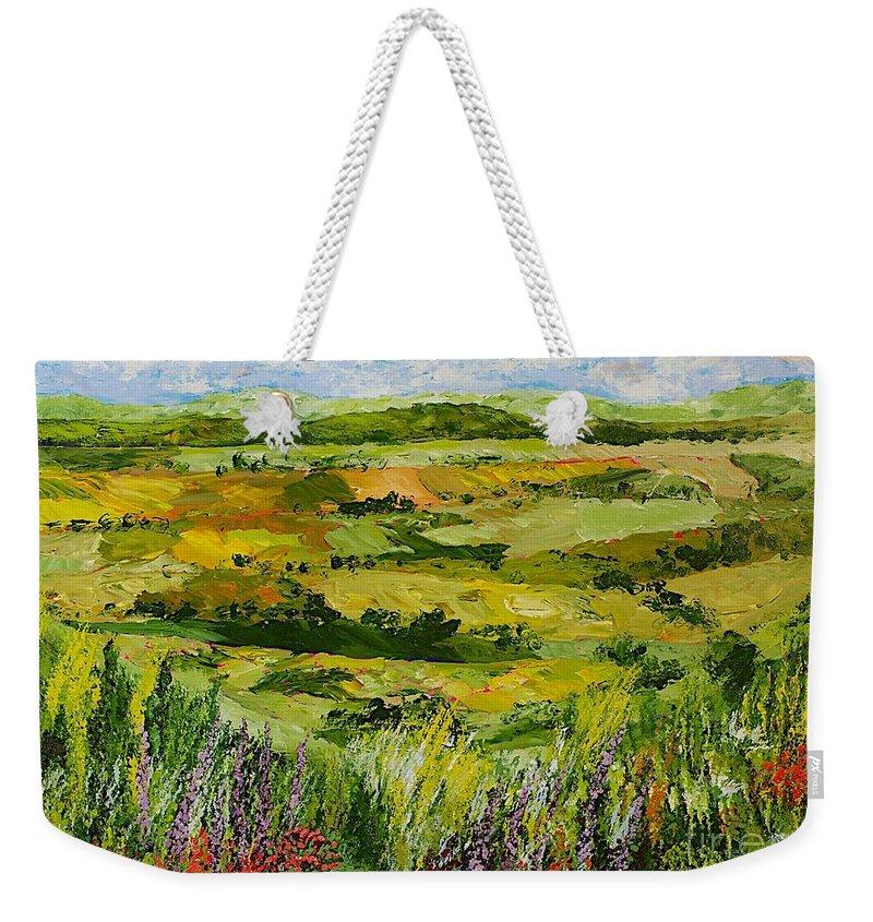 Landscape Weekender Tote Bag featuring the painting Flower Gate by Allan P Friedlander