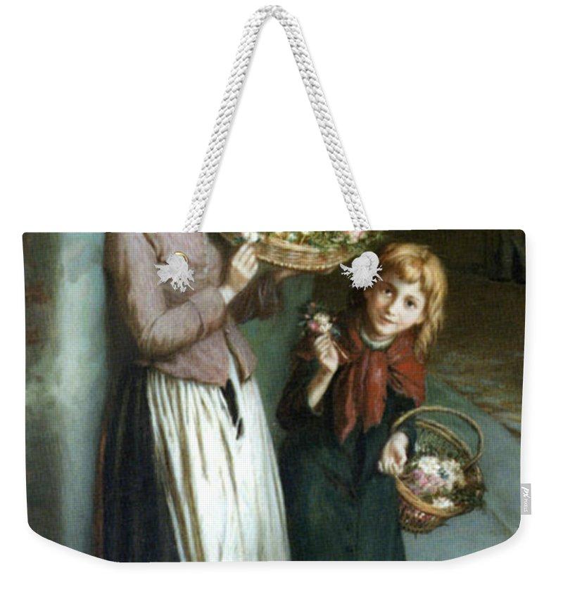 Augustus Edwin Mulready Weekender Tote Bag featuring the digital art Flower Girls A Summer Night by Augustus Edwin Mulready