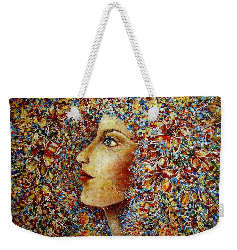 Flower Goddess Weekender Tote Bag featuring the painting Flower Goddess. by Natalie Holland