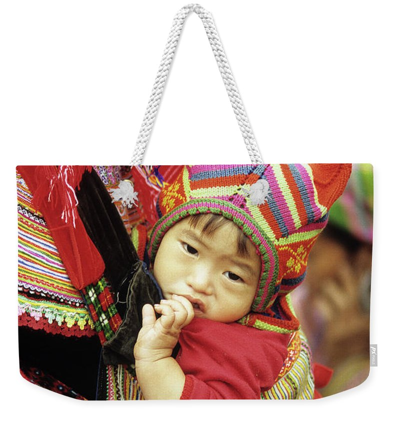 Flower Hmong Weekender Tote Bag featuring the photograph Flower Hmong Baby 01 by Rick Piper Photography