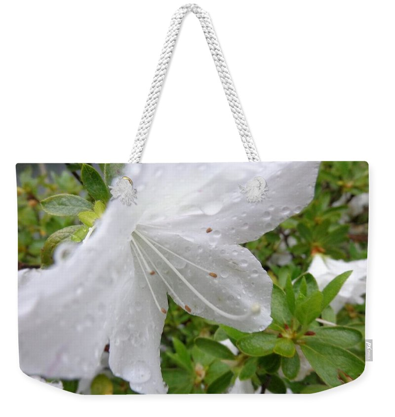 Rain Weekender Tote Bag featuring the photograph Flower Laced With Rain Drops by Jannice Walker