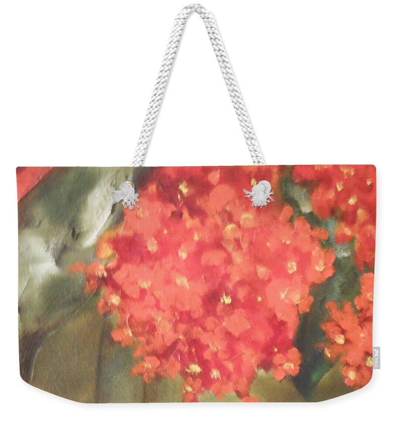 Abstract Weekender Tote Bag featuring the painting Flower On The Wall by Lord Frederick Lyle Morris - Disabled Veteran