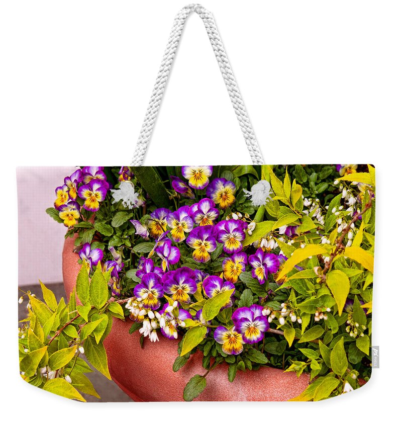Pansy Weekender Tote Bag featuring the photograph Flower - Pansy - Purple Posies by Mike Savad