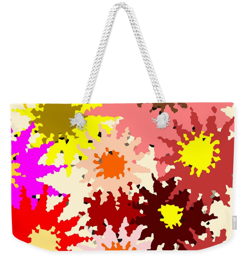 Flower Weekender Tote Bag featuring the digital art Flower Power by Mary Bedy