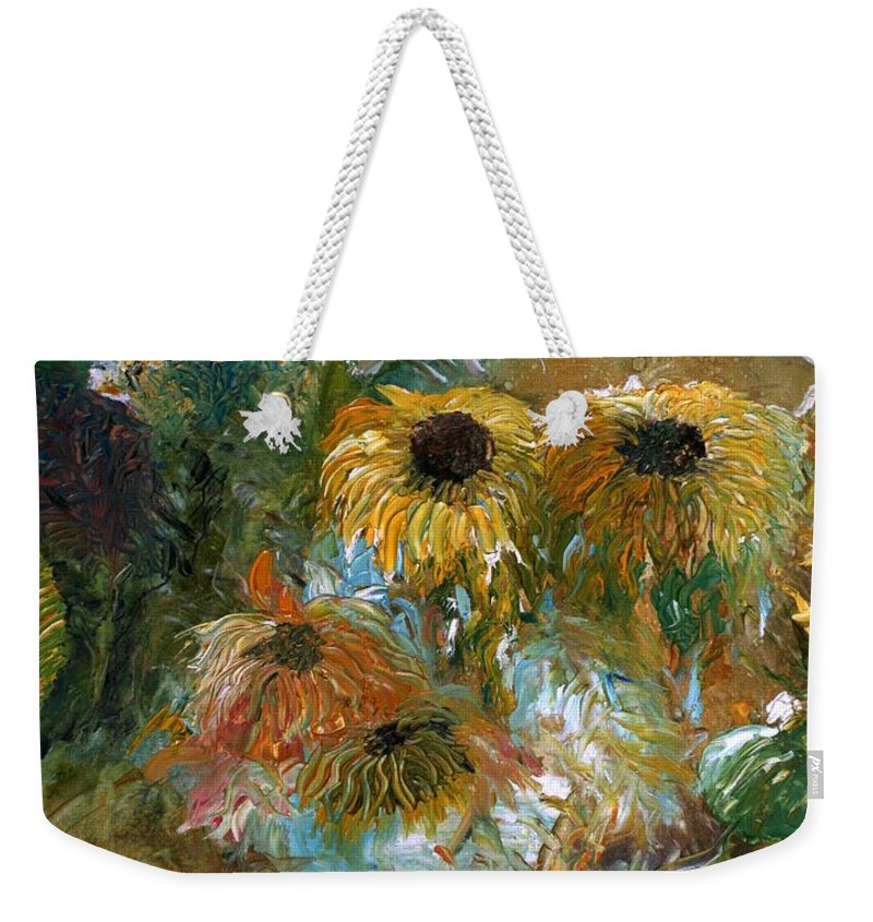 Flowers Weekender Tote Bag featuring the painting Flower Rain by Jack Diamond