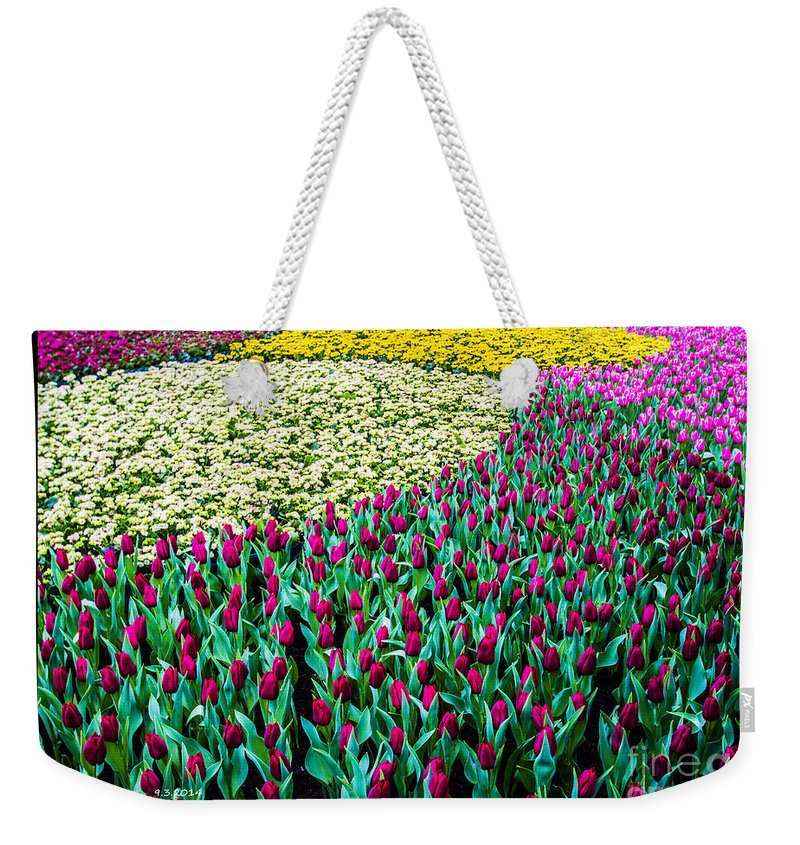 Green Weekender Tote Bag featuring the painting Flower Sea by Philip HP Wong