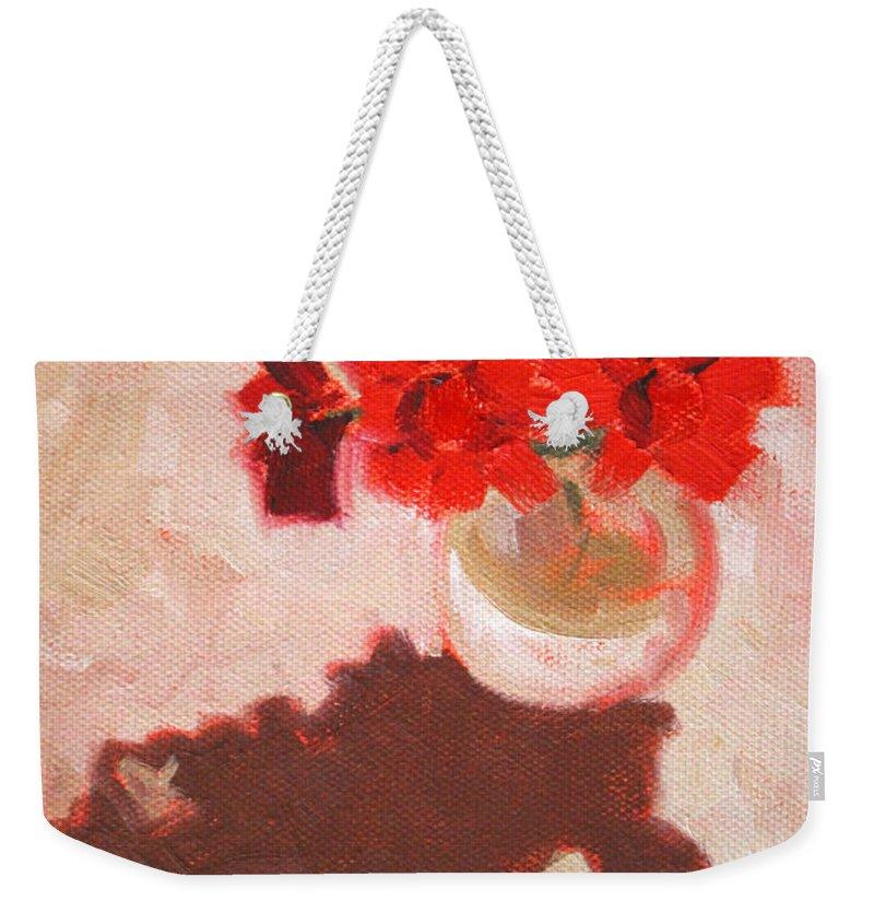 Red Weekender Tote Bag featuring the painting Flower Shadows Still Life by Nancy Merkle