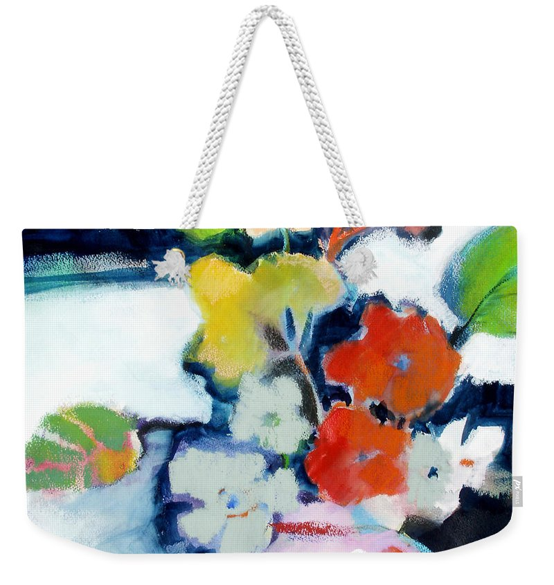 Flowers Weekender Tote Bag featuring the painting Flower Vase No.1 by Michelle Abrams