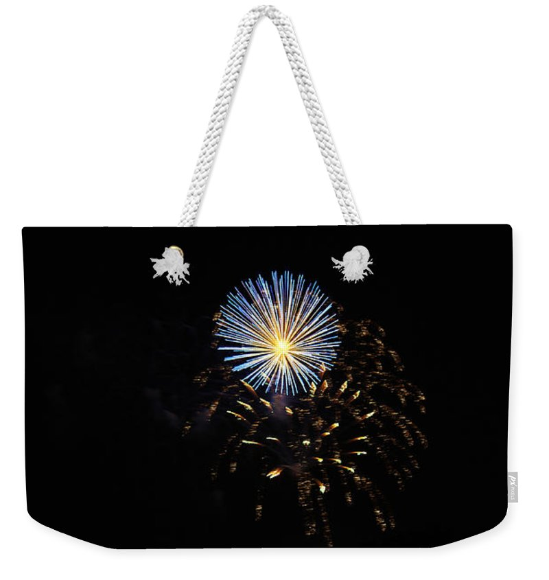 Fireworks Weekender Tote Bag featuring the photograph Flowering Burst by Edward Hawkins II
