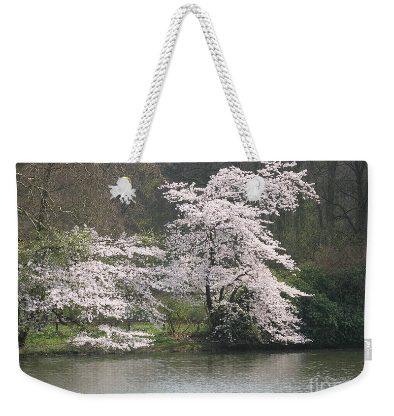 Tree Weekender Tote Bag featuring the photograph Flowering Tree At The Pond by Christiane Schulze Art And Photography
