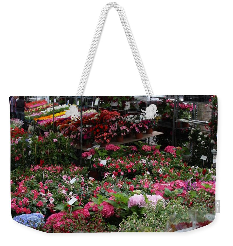 Flowermarket Weekender Tote Bag featuring the photograph Flowermarket - Tours by Christiane Schulze Art And Photography