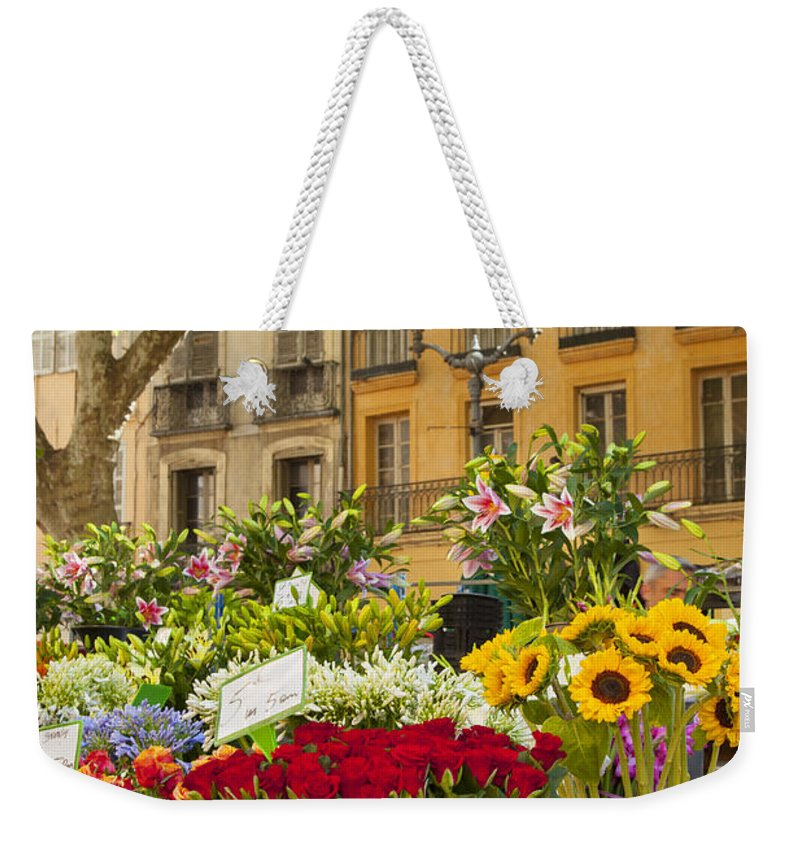 Aix Weekender Tote Bag featuring the photograph Flowers At Market by Brian Jannsen