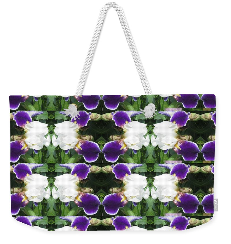 Heart Weekender Tote Bag featuring the photograph Flowers From Cherryhill Nj America White Purple Combination Graphically Enhanced Innovative Pattern by Navin Joshi