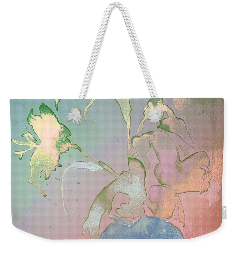 Flowers Weekender Tote Bag featuring the painting Flowers Ghosts by Miki De Goodaboom