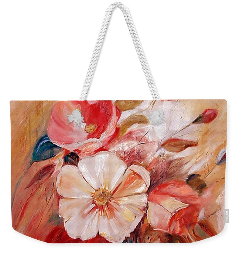 Abstract Weekender Tote Bag featuring the painting Flowers I by Silvana Abel