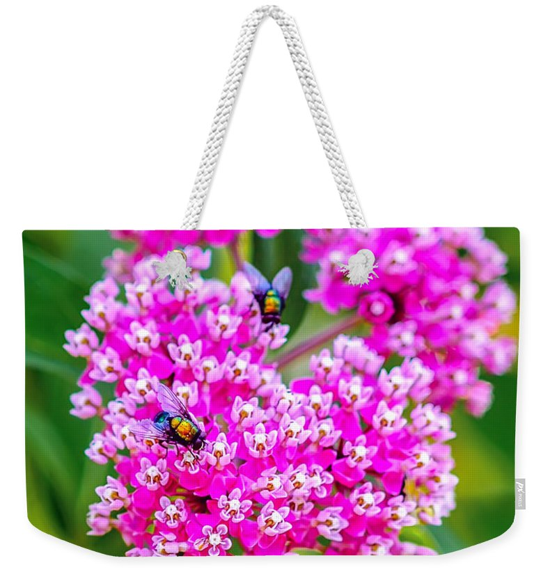 Flower Weekender Tote Bag featuring the photograph Flowers In A Purple Heart by David Perry Lawrence