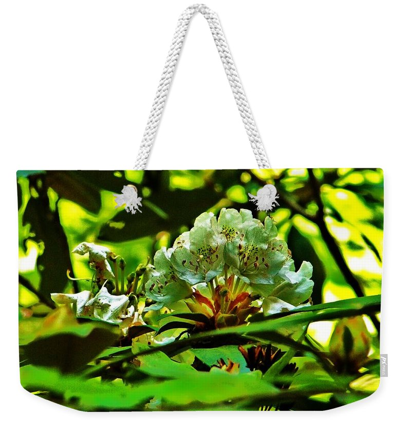 Flower Weekender Tote Bag featuring the photograph Flowers In The Woods by Chuck Hicks