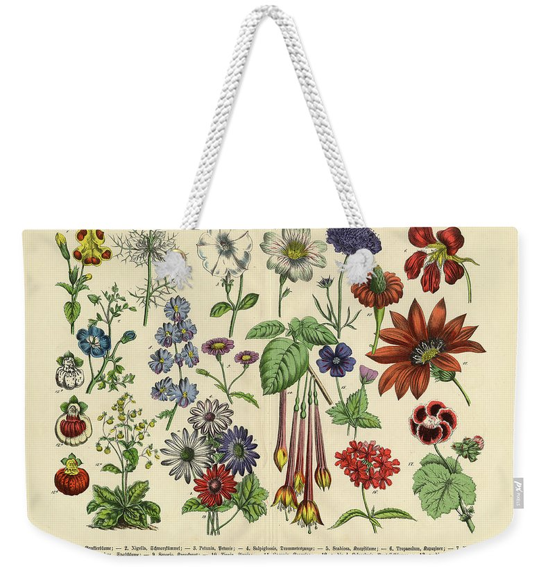 Lantana Weekender Tote Bag featuring the digital art Flowers Of The Garden, Victorian by Bauhaus1000