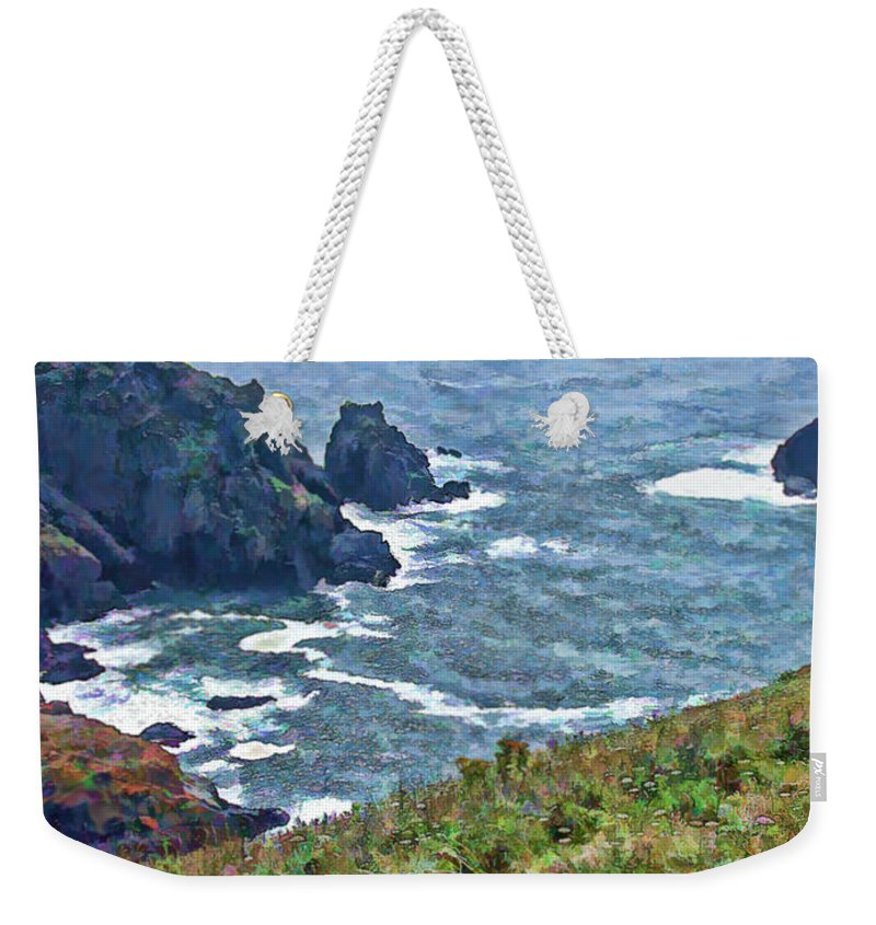 Guernsey Weekender Tote Bag featuring the painting Flowers On Isle Of Guernsey Cliffs by Bellesouth Studio