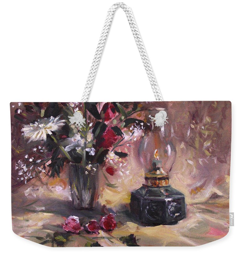 Flowers Weekender Tote Bag featuring the painting Flowers With Lantern by Nancy Griswold
