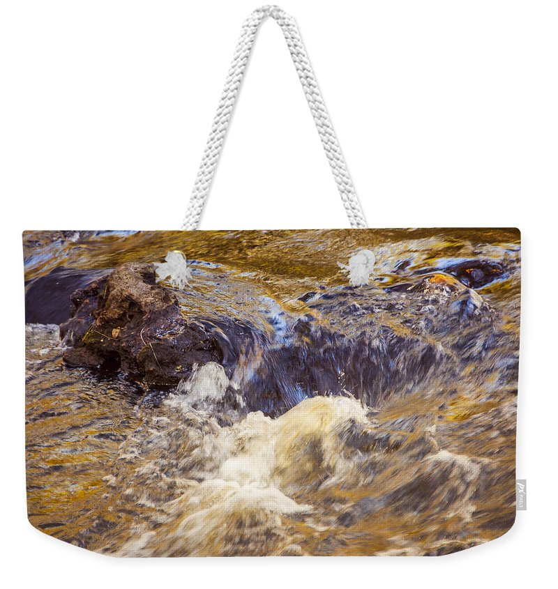 Rapids Weekender Tote Bag featuring the photograph Flowing River Rapids by Carolyn Marshall