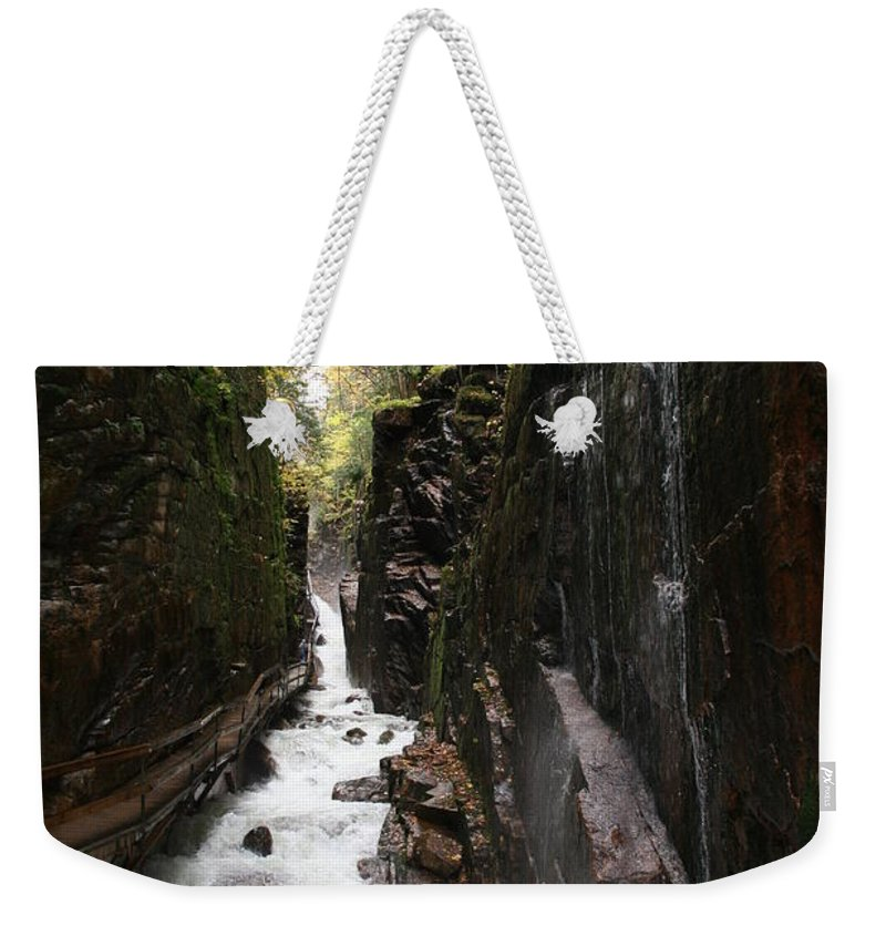 Franconia Notch Weekender Tote Bag featuring the photograph Flume Gorge Franconia Notch by Christiane Schulze Art And Photography